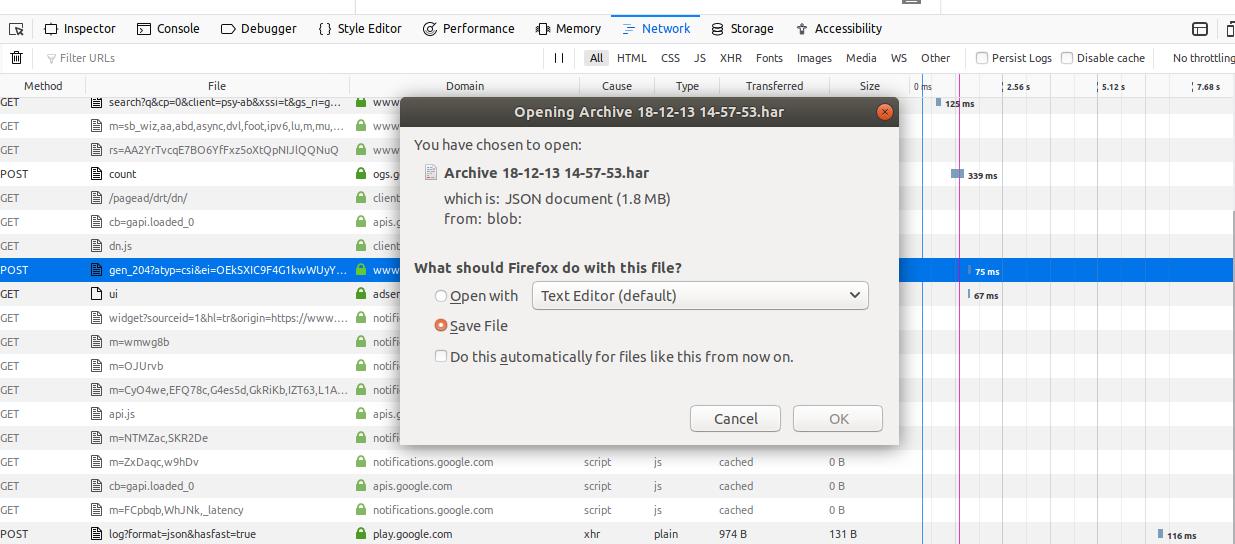 HAR File Firefox